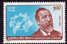 India 1981 150th Birth Anniversary Of Heinrich Von Stephan, MNH, SG 1002 (D) - Neufs