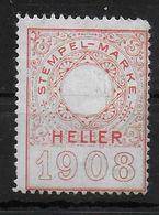 Österreich Revenue Stamp Stempelmarke Fiscal Proof Probe Essai 1908 - Revenue Stamps