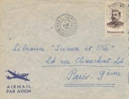"""MADAGASCAR 15f SUPERBE Obl """" BESALAMPY 1/12/52 Sur Lettre Pour Paris - Madagascar (1889-1960)"""
