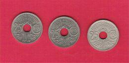 Monnaie Française Lot 3 Pièces Nickel Lindauer 25 Centimes Soulignés 1914/1915 En TTB/SUP Et La Rare 1916 En TB G.379 - F. 25 Céntimos