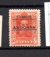 ANDORRE ESPAGNOL N° 9 50C ORANGE TIMBRES D'ESPAGNE DE 1922 A 1929 SURCHARGE NEUF AVEC CHARNIERE - Andorre Espagnol