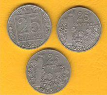 Monnaie Française Lot Des 3 Pièces Nickel Patey 25 Centimes 1903-1904-1905 En TB G.362/364 - F. 25 Céntimos