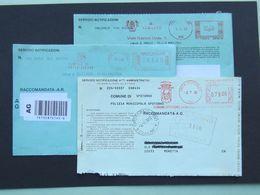 Storia Postale, Affranc. Mecc. Stemmi, Spotorno, Celle Ligure, Varazze, Servizio Notifica Atti Amministr. Racc. AR,(Re)7 - Affrancature Meccaniche Rosse (EMA)