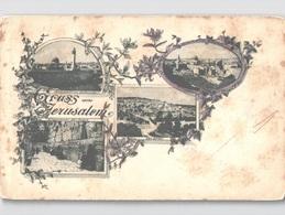 Gruss Aus Jerusalem C. 1898 Unused With Flaws - See Scan - Israele