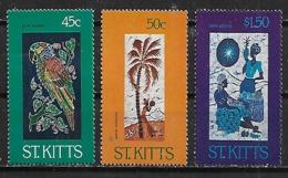 1984 St, Kitts Grabados Flora Y Fauna Palmera-loro  3v. Mint. - St.Kitts-et-Nevis ( 1983-...)