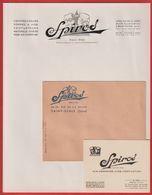 Spiros  Compresseur;Pompes;Ventilateur  Feuille à Entête  + Enveloppe + Carte De Visite  à 93 PANTIN - Visiting Cards