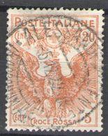 REGNO 1915 CROCE ROSSA 20 + 5 C. CENTRATISSIMO ANNULLATO - Usati
