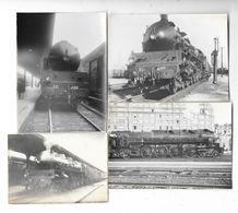 CHEMINS DE FER DE L'EST Ensemble De 4 Photographies Locomotive Machine à Vapeur - Treni