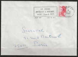 """FRANCE: Let., N° YT 2376a (t.2)/ Env., Obl. 22/08/1986, B. Flamme """"11e Foire Antiquités Et Brocante - ALBY 3au6oct, TB - 1982-90 Liberté De Gandon"""