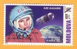 2016  Moldova Moldavie Moldau. 55 Years.  Gagarin. Overprint New Par 11 Lei . Space.  1 V Mint - Moldavie