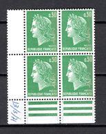 FRANCE  N° 1611b  BLOC DE QUATRE TIMBRES  NEUF SANS CHARNIERE  COTE 1.60€   MARIANNE DE CHEFFER - 1967-70 Maríanne De Cheffer
