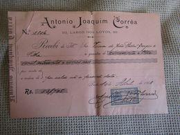 Portugal - Porto - Recibo Da Empresa Antonio Joaquim Corrêa - Largo Dos Loyos - Com Selo Fiscal 30 Reis - 1908 - Portugal