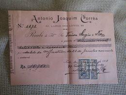 Portugal - Porto - Recibo Da Empresa Antonio Joaquim Corrêa - Largo Dos Loyos - Com Selos Fiscais 10 Reis - 1908 - Portugal