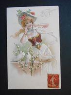 Femme élégante Avec Chapeau Et Des Colombes Sur Un Mur - Gaufrée - Femmes