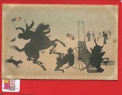 CPA Illustrateur Chine Ou Japon Jeux D'ombres Et De Lumière Accident De Pousse Pousse Cheval  Lampions - Cina