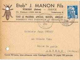 VIRIEU (38) Carte Commerciale Publicitaire Apiculture Ruches Abeilles J MANON Fils - Virieu