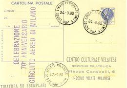 ITALIA 1980 Cartolina Postale : 70°anniversario Circuito Aereo Di Milano. - Autres (Air)