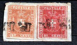 Gouvernement Provisoire Italie Sur Fragment 80 C Et 40 C Oblitéré - Toscana