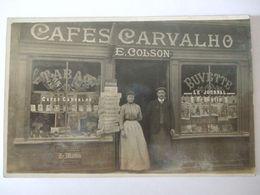 060620- CARTE PHOTO DEVANTURE DE MAGASIN -CAFES CARVALHO - TABAC BUVETTE  - E. COLSON - - Postcards