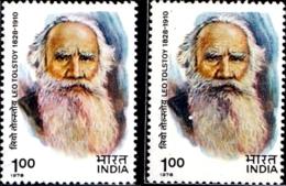 FAMOUS PEOPLE- LEO TOLSTOY -ERROR/ COLOR VARIETY -INDIA-1978- MMH- SB-5 - Varietà & Curiosità