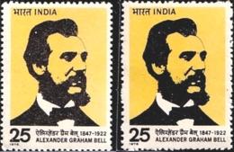 FAMOUS PEOPLE- ALEXANDER GRAHAM BELL- TELEPHONES-ERROR/ COLOR VARIETY -INDIA-1980- MMH- SB-5 - Varietà & Curiosità