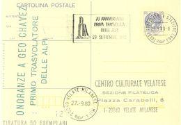 ITALIA 1980 Cartolina Postale : Onoranze A GEO CHAVEZ Primo Transvolatore Delle ALPI. - Autres (Air)