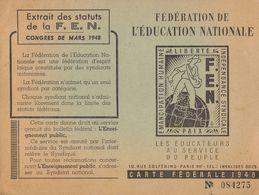 Carte De La Fédération De L'éducation Nationale  ///   Juin   20    ///  Ref.  11.582 - Old Paper