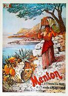 MENTON  - Edition Mic Max - CARTE POSTALE MODERNE (Reproduction D'affiche Ancienne Hugo D'Alesi) - Posters