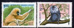 India 1983 Wildlife, Monkeys Set Of 2, MNH, SG 1099/100 (D) - Nuovi