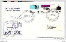 """101 - 29 - Enveloppe Envoyée De La Base """"Scott Base"""" 1973  Cachet Illustré - Dépendance De Ross (Nouvelle Zélande)"""