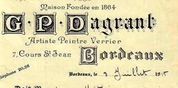 1915 VITRAIL VITRAUX Pour Eglises Et Appartements MAISON DE RENOM G.P. Dagrant Bordeaux V. HIST. Mr Metivier à Bordeaux - 1900 – 1949