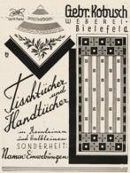 Original-Werbung/ Anzeige 1929 - TISCHTÜCHER / HANDTÜCHER / WEBEREI KOBUSCH - BIELEFELD - Ca. 100 X 130 Mm - Advertising