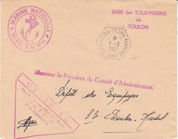 Base Des Sous - Marins De Toulon Béarn Marine, Divers Cachets Sur Lettre De 1967 - Postmark Collection (Covers)