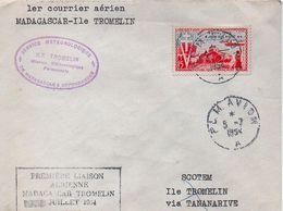PREMIÈRE LIAISON AÉRIENNE MADAGASCAR TROMELIN JUILLET 1954. - Poste Aérienne