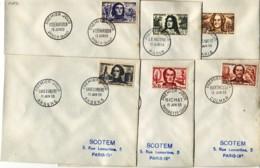 FRANCE : 1959 - 6 FDC - D'Alembert, Le Nôtre, Villehardouin, Bartholdi, Bichat, David D'Angers - 1950-1959
