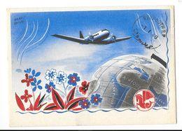 AIR FRANCE Carte Illustrée Hervé BAILLE Oblitération BEYROUTH (Liban) 1940 - Aviation