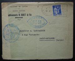 Brionne Eure 1939 Etablissements M. Duret & Fils Lettre Ouverte Par L'autorité Militaire CC51 + Daguin De Brionne - Postmark Collection (Covers)