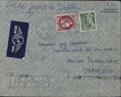 Surtaxe Aérienne Tarif FM + Surtaxe Avion Jusqu'à Dakar Puis Bateau Jusqu'à Madagascar Acheminement Rare YT 414B + 376 - Poste Aérienne
