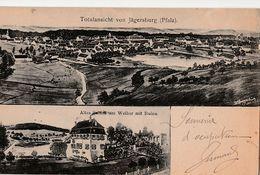 Totalansicht Von JÄGERSBURG (Pfalz). Altes SchloB Am Weiher Mit Ruine (2 Vues) - Altri