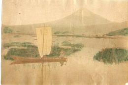 JAPON Voilier Face Au FUJIYAMA Photo Originale Tirage Albuminé Aquarellé Ca 1880 ! - Old (before 1900)