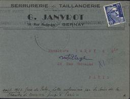 Grève YT 886 Bleu 15F CAD Paris R Balzac 1953 Cachet Faible Chambre Commerce Manuscrit Août 1953 Grève Des Postes - Marcophilie (Lettres)