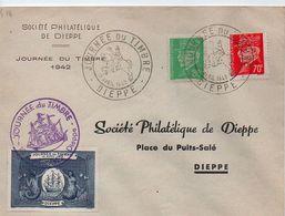 JOURNÉE DU TIMBRE.1942.SOCIÉTÉ PHILATÉLIQUE DE DIEPPE. - Marcophilie (Lettres)
