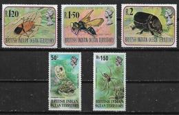 1973-8 Territorio Britanico Del Oceano Indico Fauna Insectos Arañas 5v.mint. - Territorio Británico Del Océano Índico
