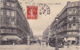 59. LILLE. CPA. ANIMATION .TRAMWAY..RUE FAIDHERBE. ANNEE 1908 + TEXTE - Lille