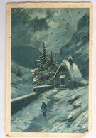 C. P. A. : Dessin De A. BERTIGUA, Chapelle Dans La Montagne Surlignée D'or - Autres Illustrateurs