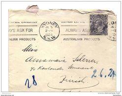 101- 44 - Enveloppe Envoyée De  Sydney En Suisse 1924 - Attention Léger Pli Vertical Au Milieu - 1913-36 George V : Hoofden