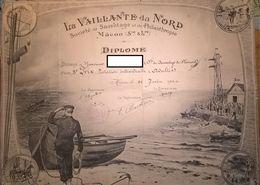 Diplôme Société De Sauvetage Et De Philanthropie - Mâcon - Sté De Sauvetage De St Laurent - 1924 - Diploma & School Reports