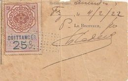 Maroc. Protectorat Français. Timbre Quittance. Fiscal. 25 C. Sur Document Papier. 1922. - France (former Colonies & Protectorates)