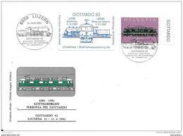 """61 - 49 - Enveloppe Suisse Avec Oblit Spéciale """"Gottardo 82 Luzern"""" + Vignette - Eisenbahnen"""