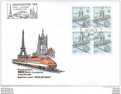 """61 - 51 - Enveloppe Suisse Avec Oblit Spéciale """"Inauguration TGV Paris -Lausanne 1984"""" - Trains"""